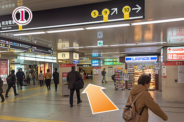 大阪メトロ御堂筋線なんば駅の南南改札